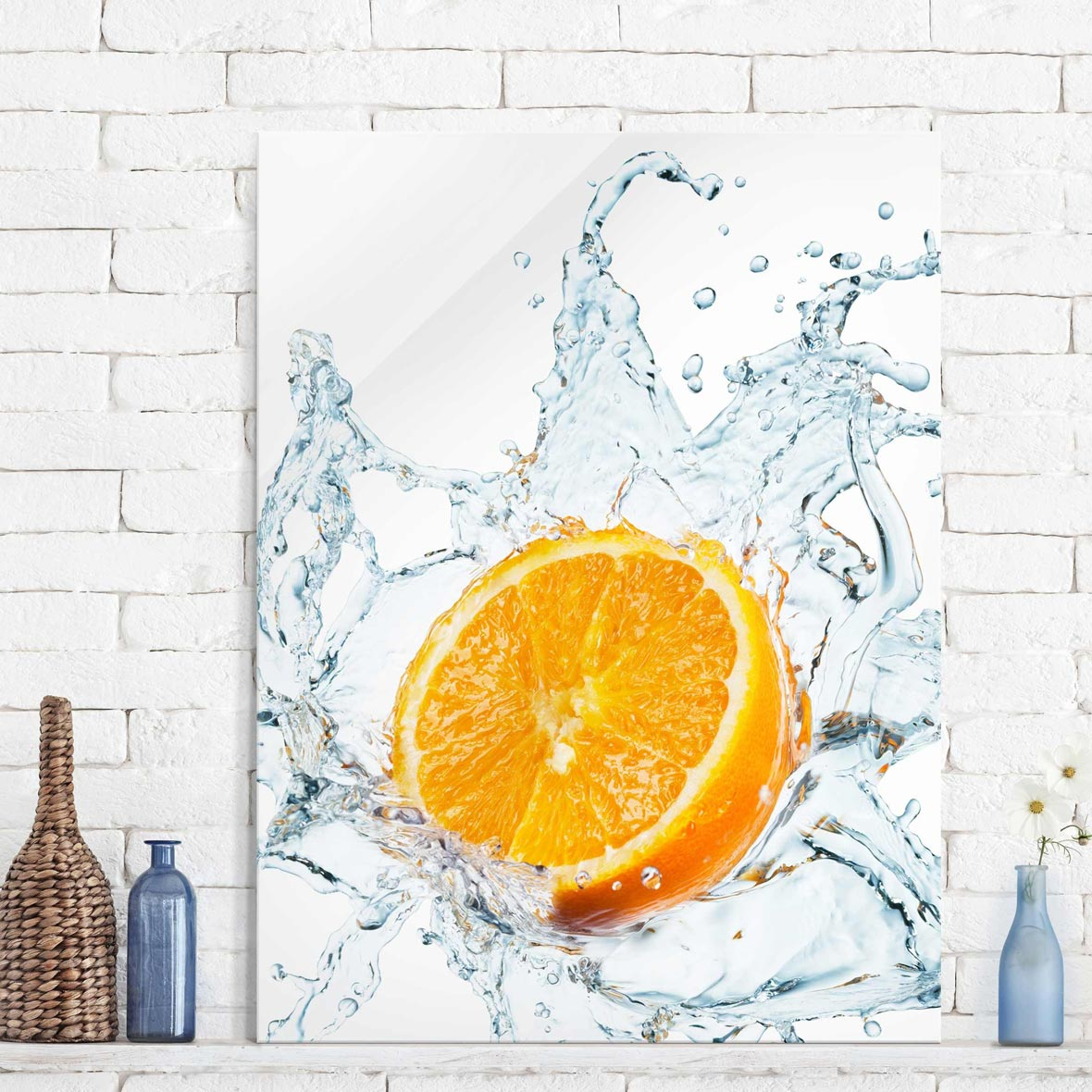 Glasbild Küche: Orange Küchenbild| Magazin Wallart.de