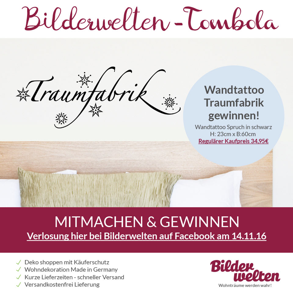 wandtattoo traumfabrik gewinnen magazin. Black Bedroom Furniture Sets. Home Design Ideas